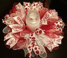 "17"" Winter/Christas Deco Mesh Centerpiece/Candle Holder ""Let It Snow""-White/Red"