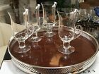 Delicate Set 4 Irish Coffee Crystal Cups w/ Handle & Pedestal Base