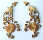 Pair Brown Trim Fringe Flower Boho Floral Retro Deco Beautiful iron on patches