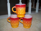 3 Vintage Kimberly Stacking Fire King Orange Diamond Pattern Coffee Mug Cup