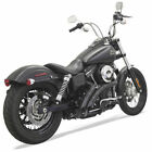 Bassani w Black Slot Shields Radial Sweepers Exhaust Harley Dyna Softail Black