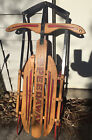 Vintage Deco SPEEDWAY MODEL 840 Child's Sled Wood And Iron Rail 39 x 22