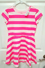 NWT Childrens Place Pink White Striped Skater Dress S 5 6 or L 10 12 Jersey