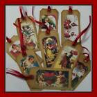 SET OF NINE VINTAGE STYLE VALENTINE HANG TAGS WITH BURGUNDY RIBBON - PRIMITIVE