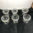 Set of 6 Vintage Clear Glass Footed Dessert Sherbet Pudding Cups