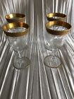 Vintage lot 4 aperitif glasses with gold trim each 4 1/2 high