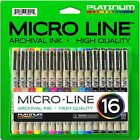 Micro Line Ultra Fine Point Ink Pens SET OF 16 Archival Ink FREE SHIPPING
