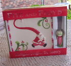 NEW FITZ & FLOYD SQUARE MINGLE JINGLE BE MERRY SNACK PLATE/SPREADER-SANTA CLAUSE