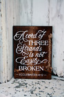 LARGE Primitive Wooden Sign A Cord of 3 Strands Religious Rustic Distressed Farm