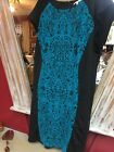 Studio One New York Aqua black Dress Plus Size 24w Aqua Teal hour glass inset