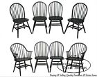 Windsor Style Set of 8 Distressed Painted Finish Dining Chairs