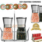 Salt and Pepper Grinder Set Mill Brushed Stainless Steel Glass Bottle Spices New