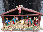 VINTAGE MADE IN ITALY 11 Pc CHALKWARE NATIVITY SET RUSTIC WOODEN CRECHE MANGER