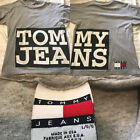 Vtg Tommy Jeans Hilfiger Double Sided Spell Out Big Logo Gray Shirt Mens Large