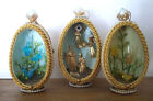 3 Egg diorama Christmas decor Nativity and birds beading gold cording