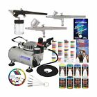 Master Airbrush Professional 3 Airbrush System with Compressor and 6 Color Pr