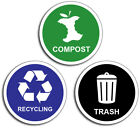 3 pack of 4 Green Blue Black Garbage Recycling Compost Vinyl Decal 3M Sticker