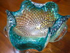 Venetian Murano Blue Green Art Glass Bowl w Silver Flakes Italy Curved Edges
