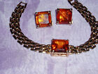 "New Topaz & Gold Tone Metal  ""LS"" Stone Set Bracelet and Matching Clip Earriings"