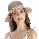 Women Girls Straw Sun Hat Wide Brim Summer Foldable Breathable Beach Cap