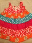 Childrens Place Fuchsia Pink Orange Floral Sun Dress  Panties Girls Sz 9 12M