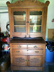 Antique Oak Step-Back Kitchen Cupboard with Applied Carvings