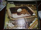 Anchor Hocking Harvest Amber Basket Buffet Sq. Glass Cake Pan in Basket w Box