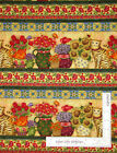 SPX Time To Blossom Cat Flowers Border Stripe Cotton Fabric 1 Yard 8 Inches