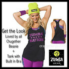 ZUMBA 2Pc.SET! Mashed-Up-Tank w Built in Bra+Loved by All Chugether Beanie S M L