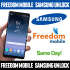 Unlock FREEDOM MOBILE Samsung S9 S8 S8+ S7 EDGE S6 S5 J2 J3 J5 A5 NOTE 7 4 3 2