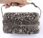 Antique Old Chinese Silver Metal Handbag Purse Chinoiserie Floral Bird Motif