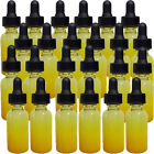 1 oz Yellow Shaded Glass Boston Round Bottles 24 New Bottles With Black Droppers