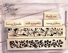 Stampin Up BORDER GREETINGS Retired Wood RUBBER STAMP SET 4pc Sympathy Friends