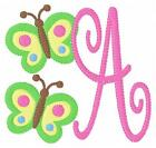 Butterfly Twin Machine Embroidery Monogram Font Designs Set CD Joyful Stitches