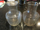 Anchor Hocking ~ Clear Glass Ribbed Water Bottles With Lid ~ Carafe Jar Jug