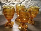 4 vintage Indiana Glass Co 9 ounce amber goblets