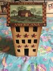 RUSTIC WOODEN SALTBOX HOUSE LIGHTED PRIMITIVE AMERICANA COUNTRY FARM HOUSE
