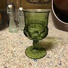 Vintage Indiana Green Kings Crown thumbprint 6 Oz wine water glass goblet 5.75