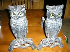 Vintage Set Cast Iron Owl Fireplace Andirons w GLASS Eyes signed ST NR