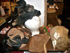 VINTAGE HAT LOT UNIQUE LADIES OLD FEATHER SKULL LEATHER FLAPPER BEADED BIRDS