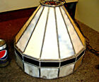"""VINTAGE LEADED STAINED ART GLASS PENDANT CEILING LAMP CHANDELIER 14 PANEL 12"""""""