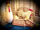Chicken in a Basket w/ Wooden Eggs  ~ Doll ~ Ornies ~