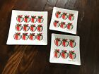 Vintage Georges Briard Strawberry Pattern Square Dish Set Of 3 Red