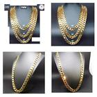 Hollywood Jewelry 24K Gold Chain Necklace 92Mm Diamond Cut Smooth Shinny Cuban