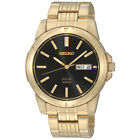 Seiko SNE100 Men's Dress Solar Black Dial Gold-Tone Stainless Steel Date Watch