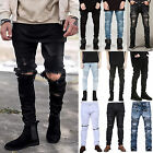 Mens Distressed Ripped Skinny Motorcycle Jeans Biker Pants Slim Denim Trousers