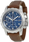 Fossil FS5022 Dean Blue Dial Brown Leather Strap Chronograph Men's Watch