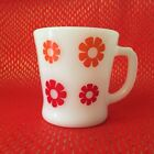 Vintage Crazy Daisy Red Orange Flower Fire King Mug Retro Funky MOD Mid Century