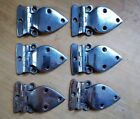 Set of 6 Antique c1930s Nickel Plated Brass Ice Box Hinges Good Condition