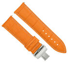 24MM LEATHER STRAP BAND DEPLOYMENT CLASP FOR PAM 44MM PANERAI BROWN ORANGE #18